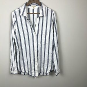 Cloth and Stone Baha Style Shirt Raw Hem Stripes